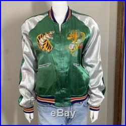 SALE Souvenir 50s JAPAN Bomber Satin Jacket, Embroidered, Reversible, Flying Eagle, Phoenix, 1950s, Genuine, Near Excellent Condition, RARE