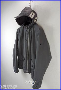 STONE ISLAND Vintage Hooded Grey Jacket, S Size, Casual Style