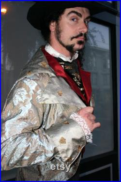 Silver Sage Tapestry and Napoleon Bee Silk Steampunk Frock Cutaway Wedding Coat