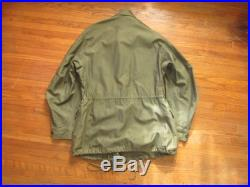 Small 50s US Army M-51 Field Jacket Parka, M-1951 M51, Olive Green OG 107, Korean War 1950s, Military Chore Coat M 51 M51