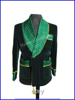 Smoking Jackets Men Double Breasted Jackets Men Quilted Jackets Green Velvet Blazers Dinner Jackets Party Wear Blazer Valentine Gift for him