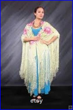 Soft Pastel Mucha Vintage Style ArtDeco Lady Bohemian DeLuxe XL Embroidered Gypsy Shawl
