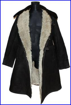 Soviet military original Officer's winter overcoat genuine sheep fur and suede warm russian army trapper black coat Tulup