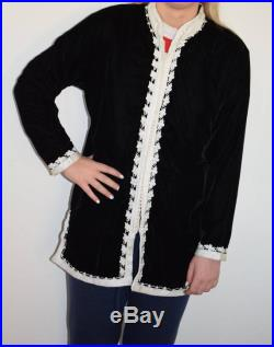 Stunning Bohemian Moroccan luxury velvet Tunic Jacket with Nehru Collar Black Velour with embroidered White threads M