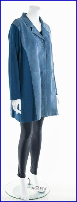 Suede Leather Duster Jacket, Leather Knit Jacket, Blue Suede Jacket, Suede Duster, Leather Duster, 70's Duster Jacket, 70's Leather Jacket