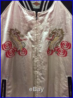 Sukajan Satin Vintage Rare Tiger Dragon Embroidery Japanese Souvenir Jacket White Black Satin Sukajan Vintage Bomber Jacket Size Large L