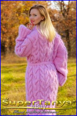 Sweater promotion Made to order hand knitted mohair cardigan in pink, fuzzy shawl collar cable sweater coat by SuperTanya ON SALE