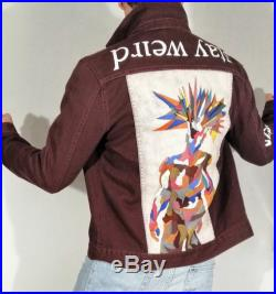 The King handpainted wine denim jacket size M slim fit unisex Only this one