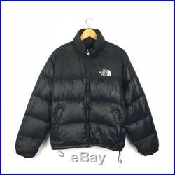 The North Face Vintage 90s Nuptse Packable Blackout Puffer Goose Down Jacket Hidden Hoodie Size Medium