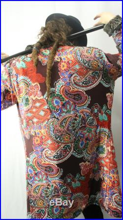 The Pimp Coat Music Festival Swag Long Bomber Jacket Burning Man Outwear Faux Fur Coat Paisley Print MADE TO ORDER