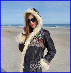 The Sherpa Reversible Faux Fur Festival Coat with Multi Colored Embroidery and Floral Crown
