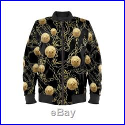 Unisex Bitcoins and chains print bomber jacket available in sizes XXS to 4XL