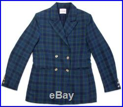 Unisex Bobby Double Breasted Blazer in Blue Green Tartan