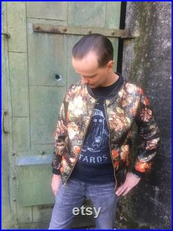 Unisex Floral Bomber jacket with leather accents Custom made to your measurements