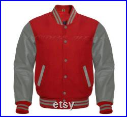 Varsity Baseball Letterman Red Wool and Grey Genuine Leather Sleeves Jacket XS 7XL