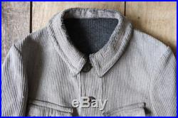 Vintage 1920s 20s french grey pique corduroy hunting shooting work jacket xs 36 chest workwear chore repaired darned