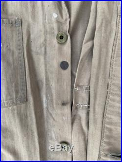 Vintage 1930's 1940's Chainstitch Milwaukee Jacket with Donut Buttons, Work Wear, Uniform, Men's 30's 40's Industrial Long Sleeve Overalls