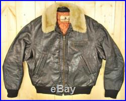 Vintage 1940's 50s Black Shearling Collar Horsehide Jacket Retro Collectable Rare