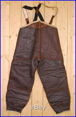 Vintage 1942 WW2 Brown USAAF B-1 Flight Pants Perry Sportswear Inc. Shearling Lined Bomber Retro Collectable Rare
