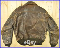 Vintage 1960's 70's Leather A2 Style Bomber Jacket Retro Collectable Rare