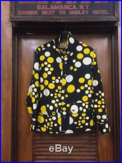 Vintage 1960's Black Jacket with Yellow and White Polka Dot Print, Vintage Clothing, Polka Dot Print, Swing West Label, Vintage 1960's