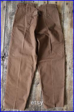 Vintage 1970s 70s deadstock French SNCF railway railroad engineer trousers pants work chore workwear 35 x 26 duck cotton canvas buckle
