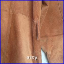 Vintage 1970s Brown Camel Suede Men Trench Coat by Luxury Brand Beged Or Made in Israel