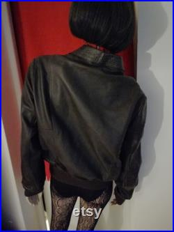 Vintage 1970s Brown thick Leather bomber jacket size Large 44 in mint condition made in UK