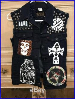 Vintage 1980's Punk Studded Levi's Vest Misfits Crass Black Flag Handmade Silkscreened Patches M