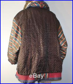 Vintage 1980's The Climate Zone Brown, Black, and Blue Striped Unicorn Puffer Coat XXL Winter Jacket
