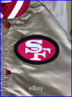 Vintage 1980s San Francisco 49ers Chalk Line double-sided stitched satin bomber jacket-Gold and Red-size Medium
