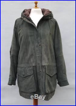 Vintage 1990's Men's, Unisex Timberland Green Suede Hooded Jacket, Parka. UK Size Large. Chest up to 44 inch.