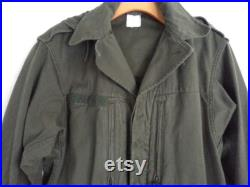 Vintage 60s French Military Parka SCECAM Paris Field Jacket Olive Drab