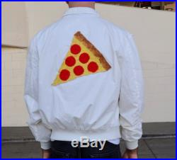 Vintage 70s 80s White Satin Zip-Up Members Only Bomber Jacket with Embroidered Pizza Patch (size medium, large)