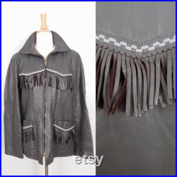 Vintage 70s Jacket WB Place Co Mens Womens Western Rodeo Gray Leather Fringe White Checkerboard Trim Quilted Zip Coat