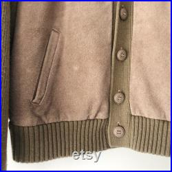 Vintage 80s Brown Beige Leather Patchwork Cable Knit Sweater Jacket, Size M