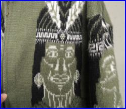 Vintage 80s Jacket Novelty Mens Unisex Warrior Indian Chief Ethnic South American Wool Cardigan Sweater Unisex