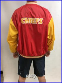 Vintage 90's Original Kansas City Chiefs Red and Gold Classic Windbreaker Bomber Pro-Line Stater Jacket (Size XL)