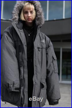 Vintage 90's The North Face Super Oversize Unisex Puffer Jacket Hooded Grey