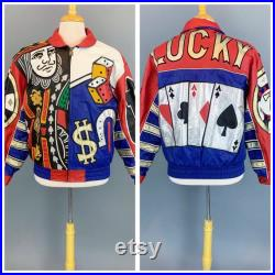 Vintage 90s Tip Top leather jacket 1980s 1990s Tip Top California gambling Vegas Lucky Poker themed Hip Hop Unisex leather jacket