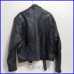 Vintage Black Leather Motorcycle Rider Jacket Quality Riderware Products Size 48