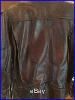 Vintage Classic Brown Leather SCHOTT Lined Racing Jacket Size 16 Motorcycle Jacket Coat Outerwear