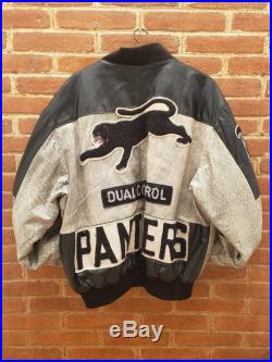 Vintage Duel Control Leather Jacket 90s 80s Leather Zip up coats