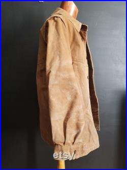 Vintage French Brown SNCF work jacket duck canvas M L