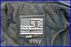Vintage Genuine Leather Motorcycle Jacket USA Biker s Leather brand Hand Painted Detail