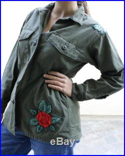 Vintage Green Army Jacket Embroidery Olive Green Shirt Button Up Military Jacket Vietnam Era Air Force Jacket OG 107
