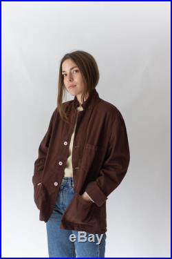 Vintage Hickory Brown Overdye Chore Jacket Dark Brown Cotton French Workwear Style Utility Work Coat Blazer M L