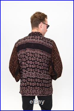Vintage Indonesian Jacket Retro Pattern on Thick Woven Cotton Size-XL