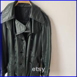 Vintage Leather Double Breasted Trench Coat Dark Green Long Jacket