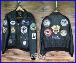 Vintage Leather Pilot Bomber Jacket with Patches